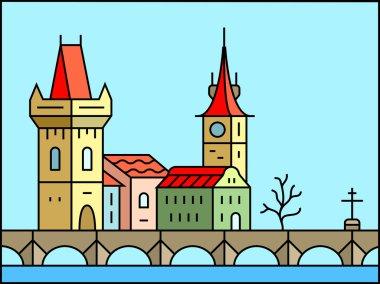 Prague cityscape icon