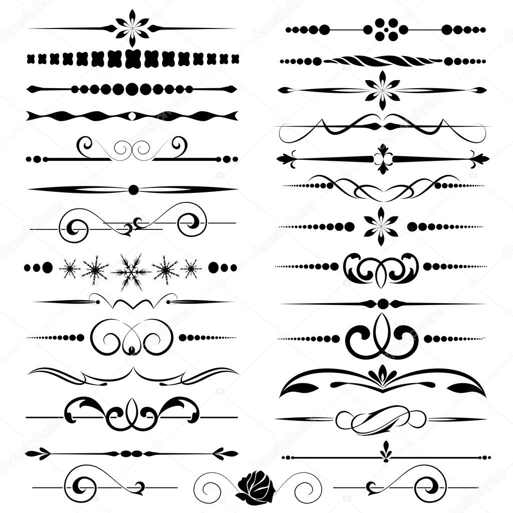 Set of calligraphic elements