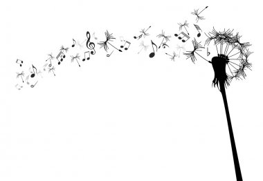 Vector dandelion with music notes against the white stock vector