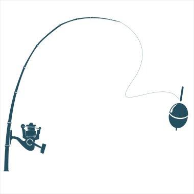 Fishing rod on the white backdrop.