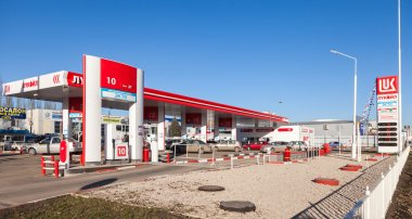 Lukoil gas station in sunny day