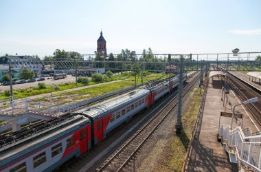 View of Rail Terminal Okulovka and rail ways in summer sunny day
