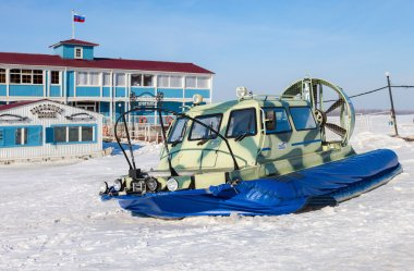 Hovercraft transporter on the Volga embankment in Samara, Russia
