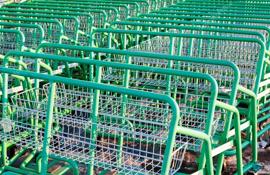 Large Empty Green Shopping Cart Leroy Merlin Store Stock