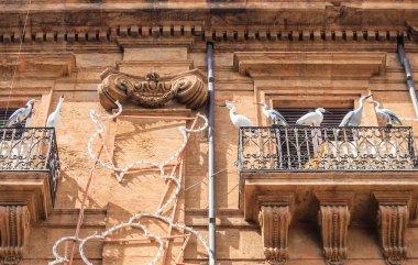 Balcony in Palermo with dummy birds. Sicily. Italy