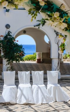 Chairs for the wedding. Thermal springs of Kallithea (Terme Kali