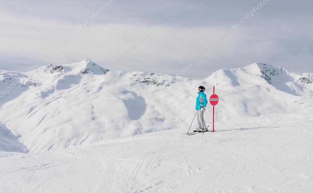 Skier mountains in the background. Ski resort Livigno. Italy — Stock ...
