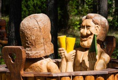 Wooden sculpture. Sanatorium
