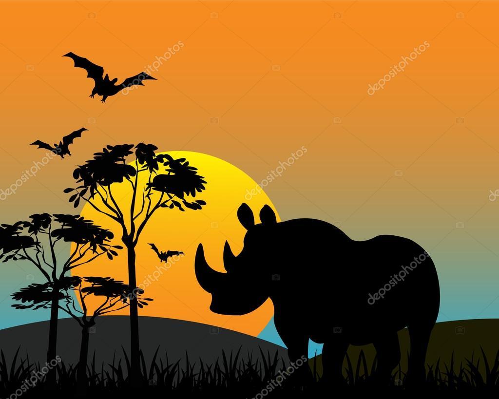 Rhinoceros in savannah