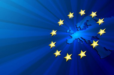 """Картина, постер, плакат, фотообои """"карта европы и флаг европейского союза """", артикул 102105536"""