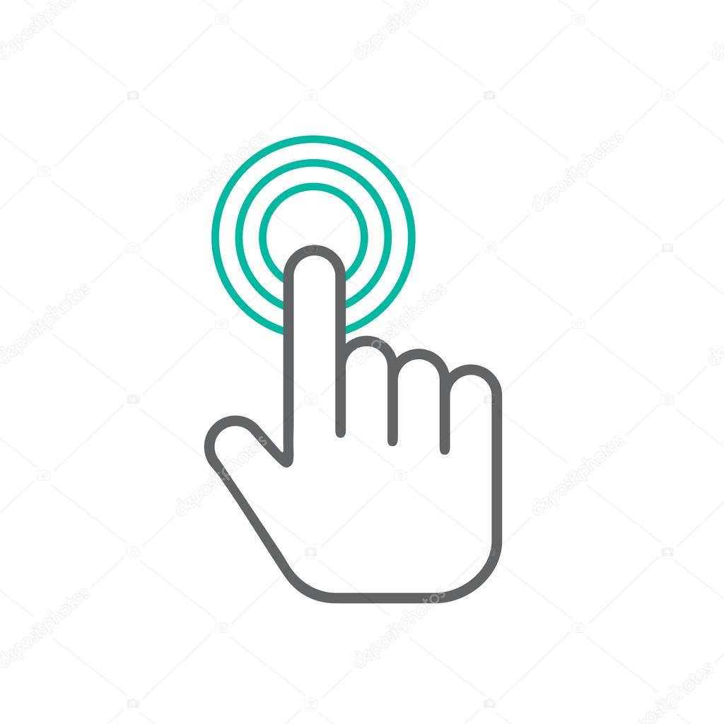Click hand icon, click hand icon vector, flat click hand icon design —  Stock Vector © -strizh- #102618064