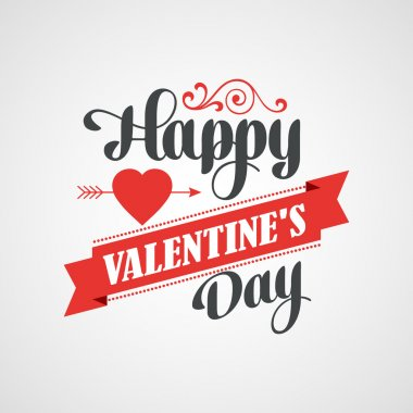 Happy Valentines Day Lettering Card - Typographical Background With Ornaments, Hearts, Ribbon and Arrow