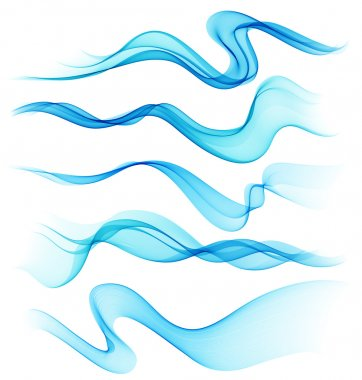 Set of Abstract smoke  curved lines