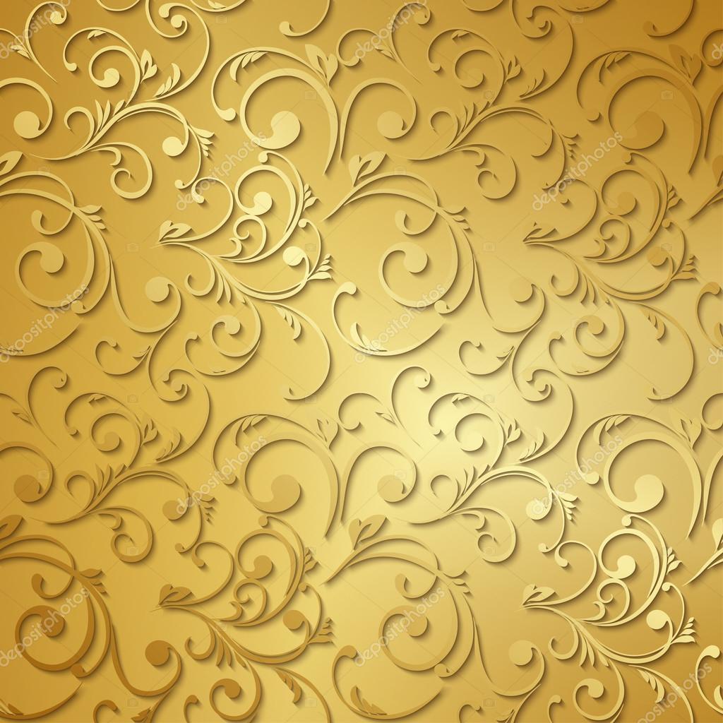 Luxury Golden Wallpaper Vintage Floral Pattern Vector Background By Strizh