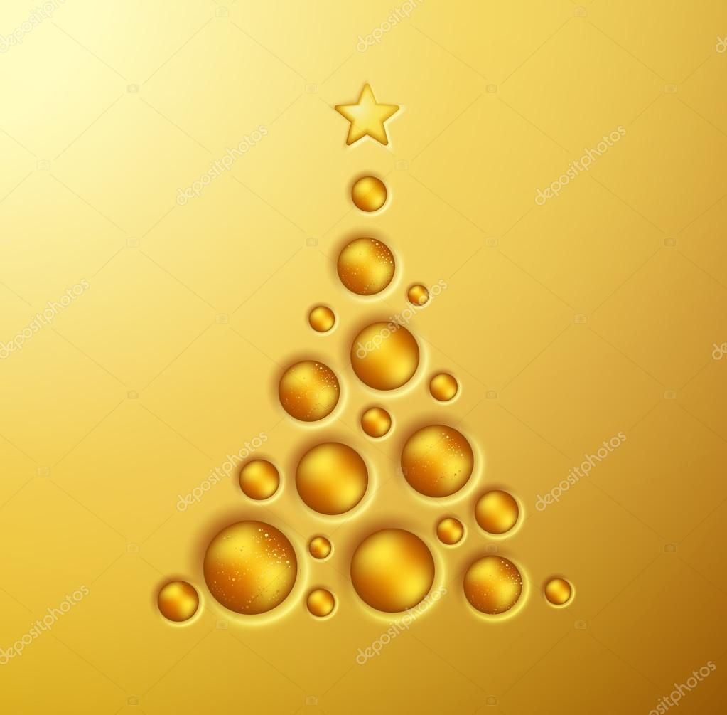 Simple Golden Christmas Tree Stock Vector