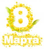 Fotografie Yellow mimosa flower. Mimosa flower symbol of Womens Day. Congratulations on March 8. Russian text lettering for greeting card