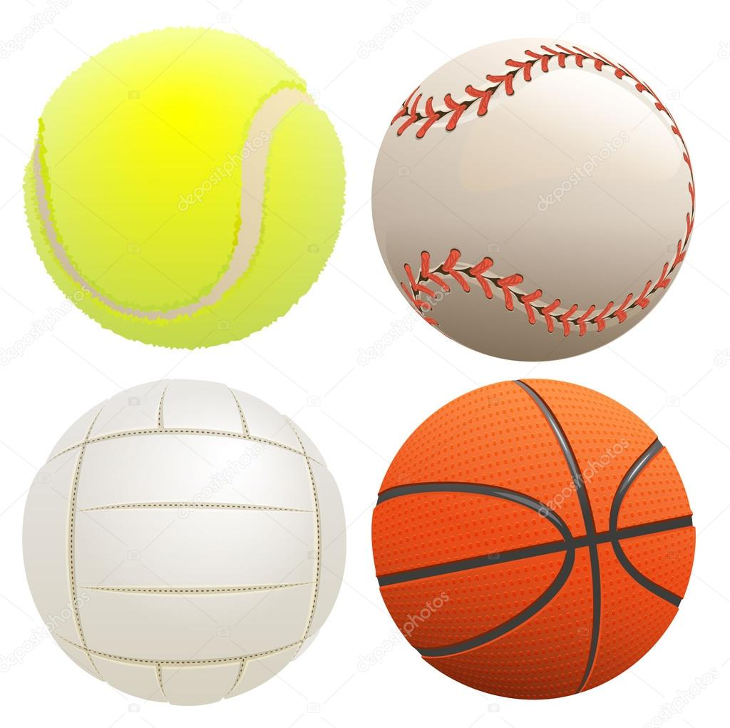 4d999ac8202cee Набір спортивні м'ячі. Тенісний м'яч, баскетбол, волейбол, бейсбол.  Ізольовані на білий Векторні ілюстрації — Вектор від orensila