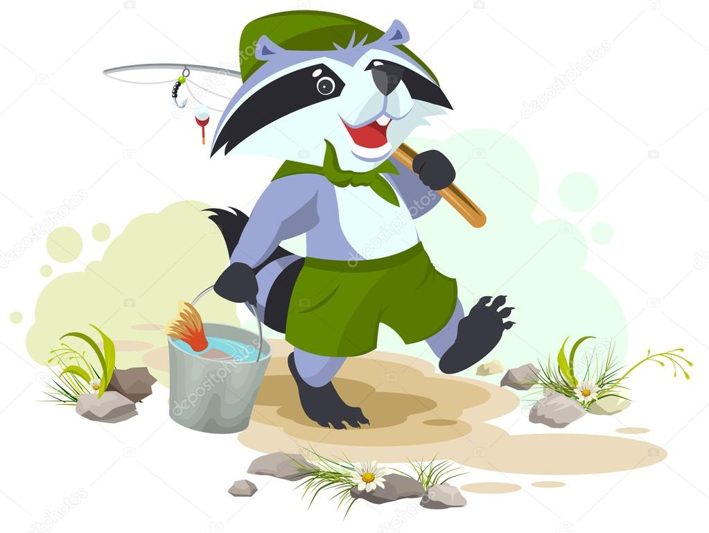 Scout goes fishing. Raccoon scout carries bucket of fish. Fisherman ...
