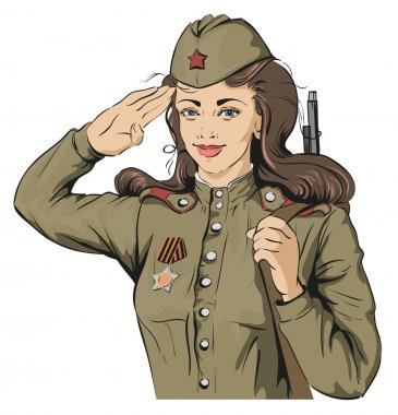 Russian Girl soldier. Female soldier in retro military uniforms. May 9 Victory Day
