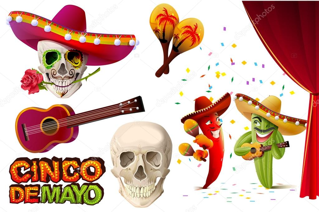 Set cinco de mayo mexican skull in sombrero holding rose teeth set cinco de mayo mexican skull in sombrero holding rose teeth lettering text for greeting card isolated on white vector illustration vector by m4hsunfo