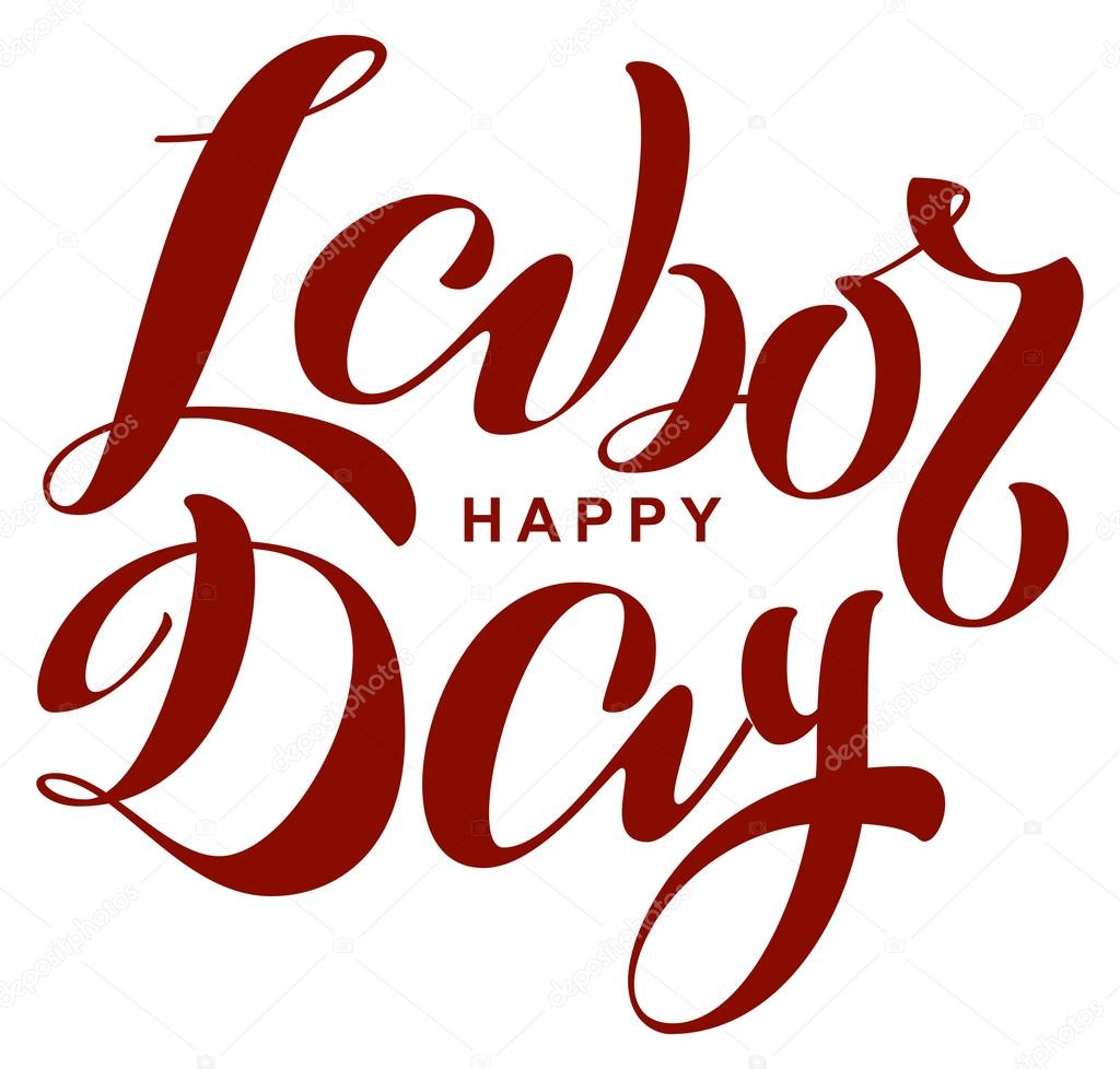 Happy Labor Day Lettering Text For Greeting Card Stock Vector