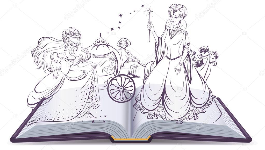シンデレラの物語開かれた本のファンタジー物語妖精とガラスの靴と