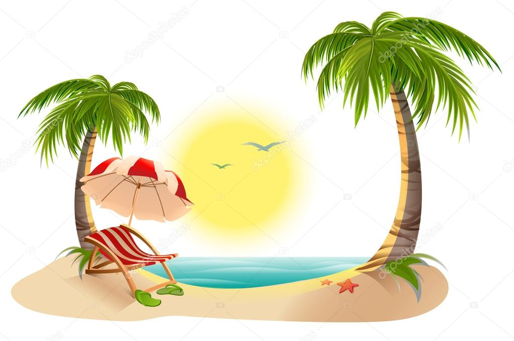 Beach Chaise Longue Under Palm Tree Umbrella Summer Vacation In Tropics Stock