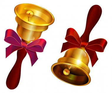Golden bell with red bow. Holiday Last call at school