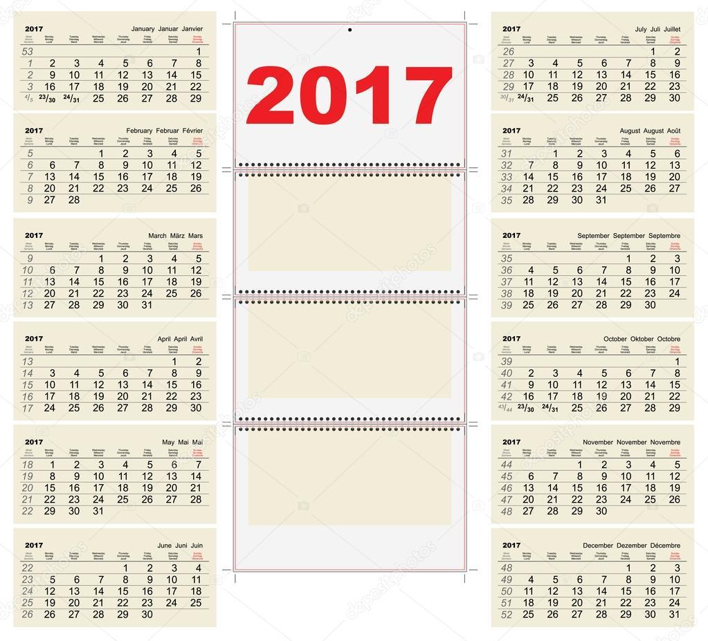 Vorlage-Raster Wand Kalender 2017. Ersten Tag Montag — Stockvektor ...