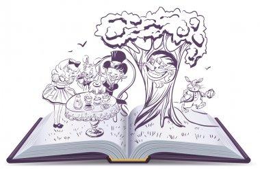 Alice in Wonderland. Girl and rabbit drinks tea. Open book vector illustration stock vector