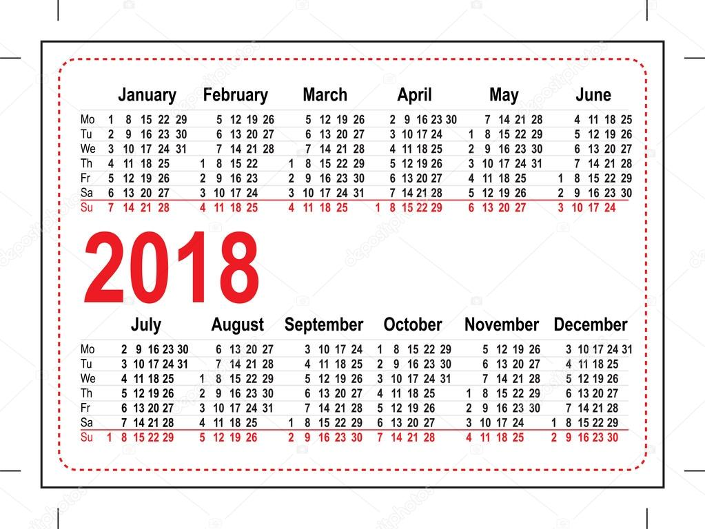 grid pocket calendar 2018 stock vector