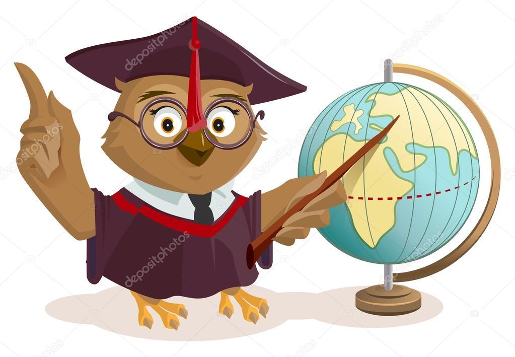 globe et matre hibou image vectorielle - Maitre Hibou