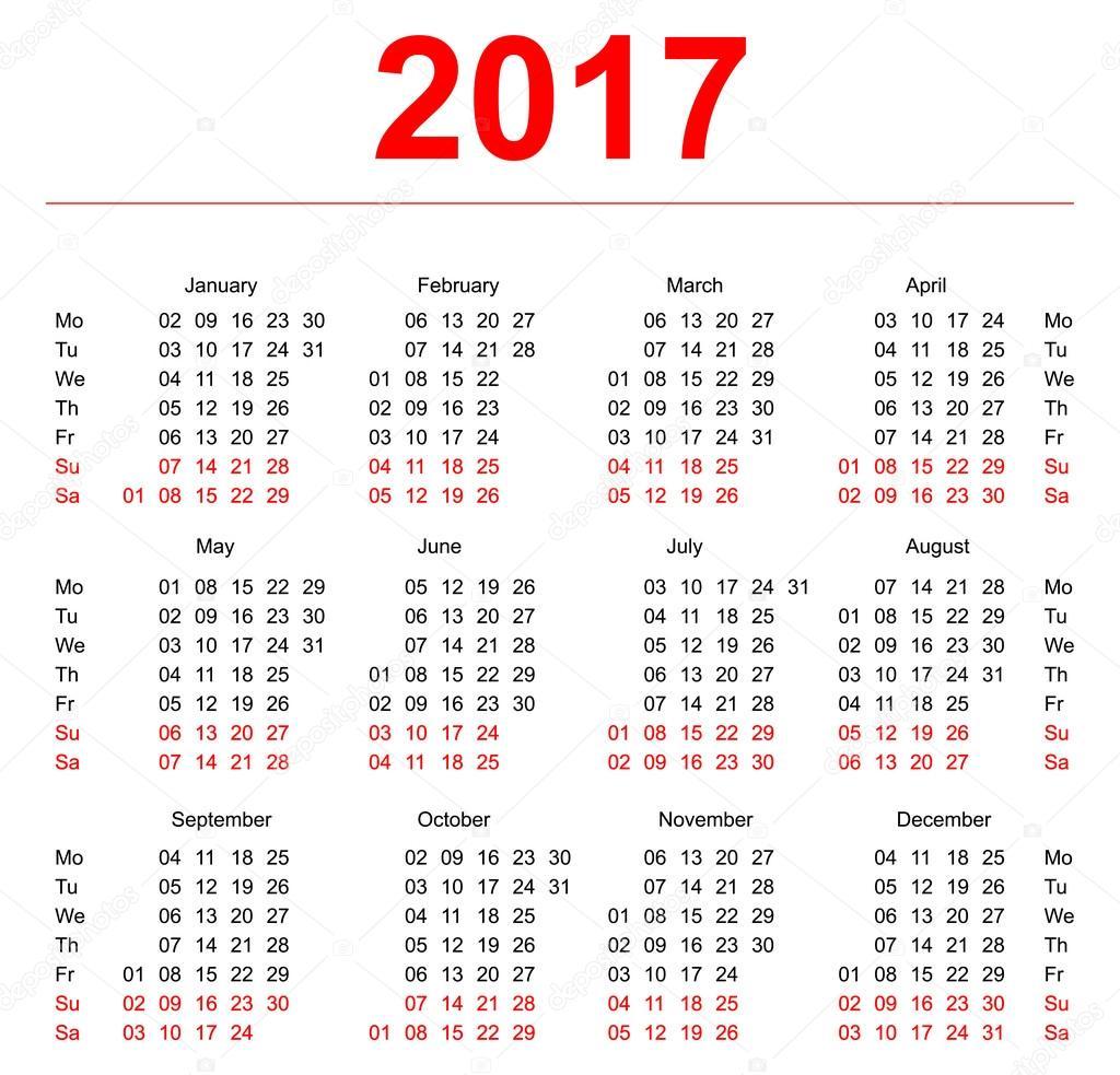 2017 Calendar template. Vertical weeks. First day Monday — Stock ...