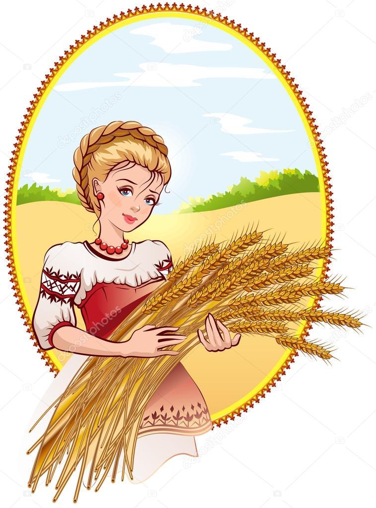 Woman holding wheat ears