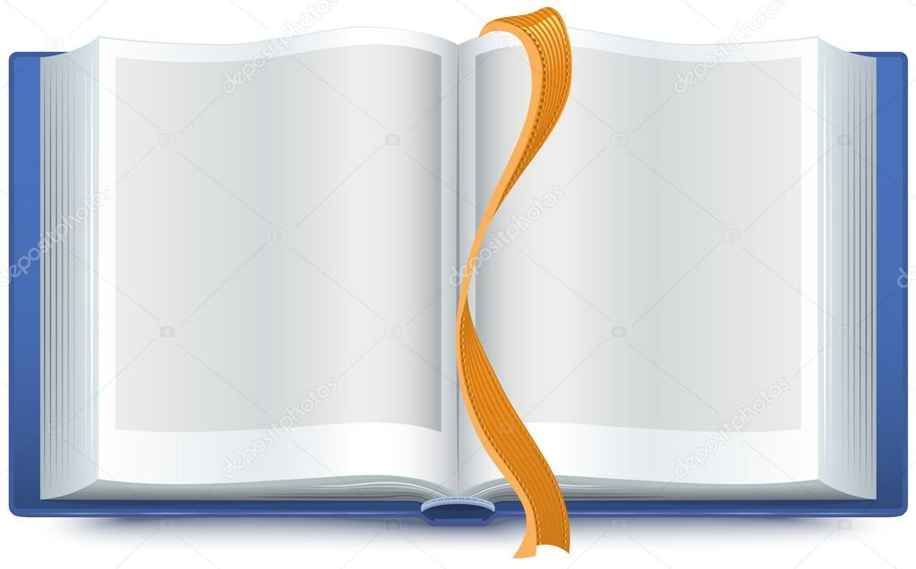 Bleu Livre Ouvert Avec Un Signet Image Vectorielle