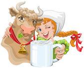 Dívku objímala kráva a zemědělec mající šálek mléka