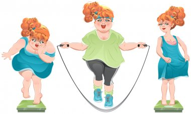 Fat woman stares at the scales. She lost weight. Thin red-haired girl standing on the scales