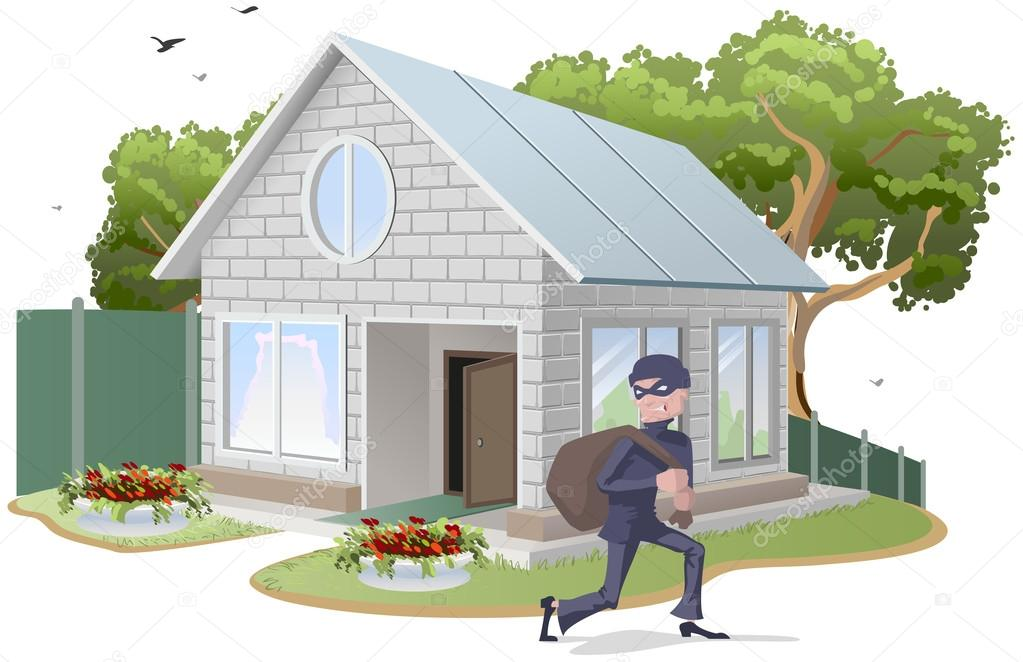 Male thief robbed house. Burglaries. Property insurance
