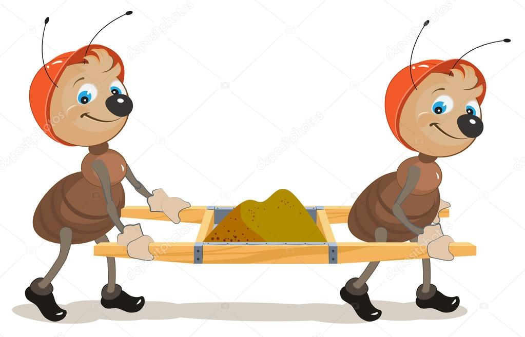 Ant builder. Two ants are stretchers with sand