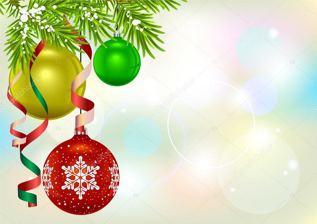 Weihnachtskarte-Vorlage. Tanne-Zweig und Weihnachtskugel ...