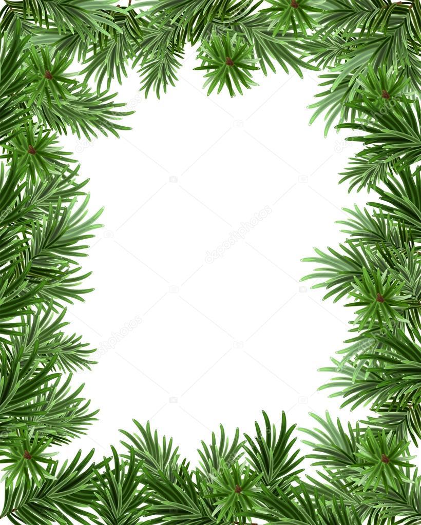 Marco de ramas de abeto para Navidad. Plantilla de tarjeta de ...