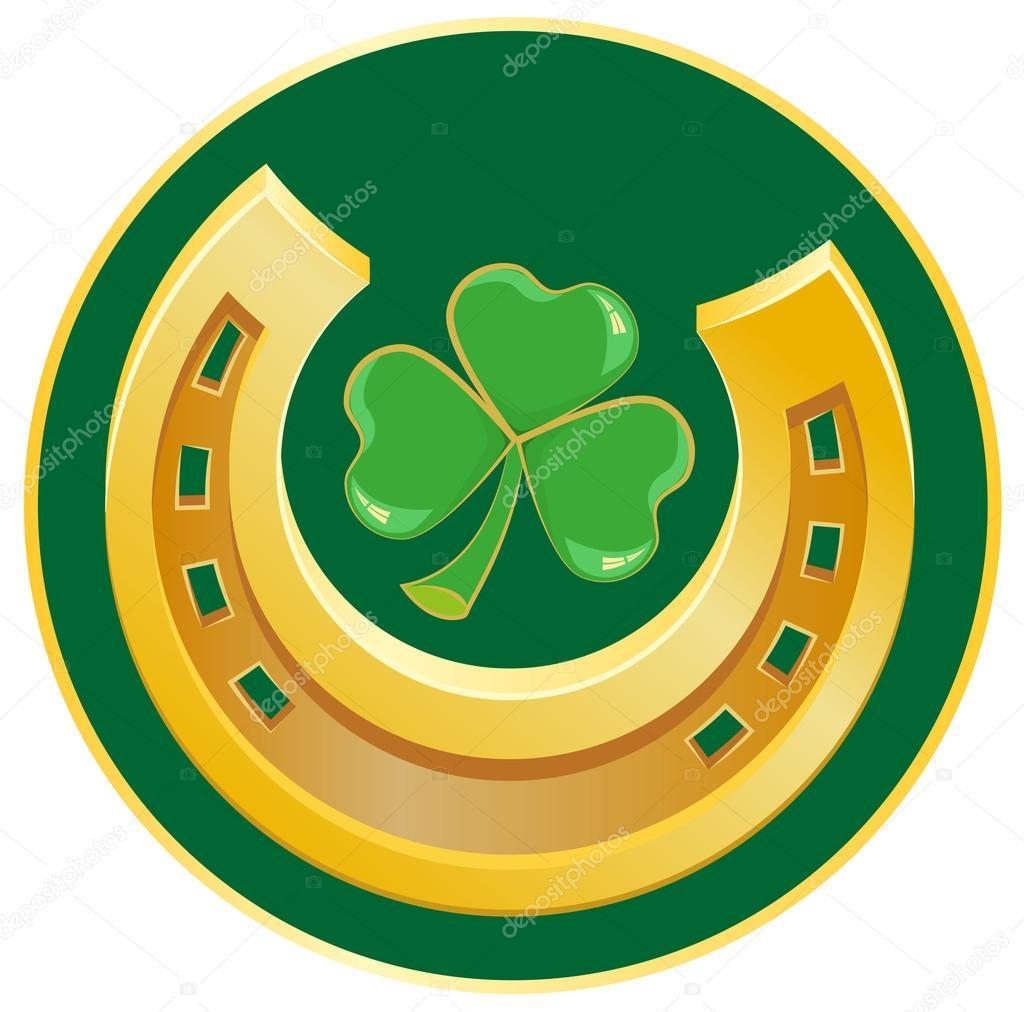 Golden horseshoe and clover leaf symbol of good luck stock golden horseshoe and clover leaf symbol of good luck stock vector biocorpaavc Choice Image