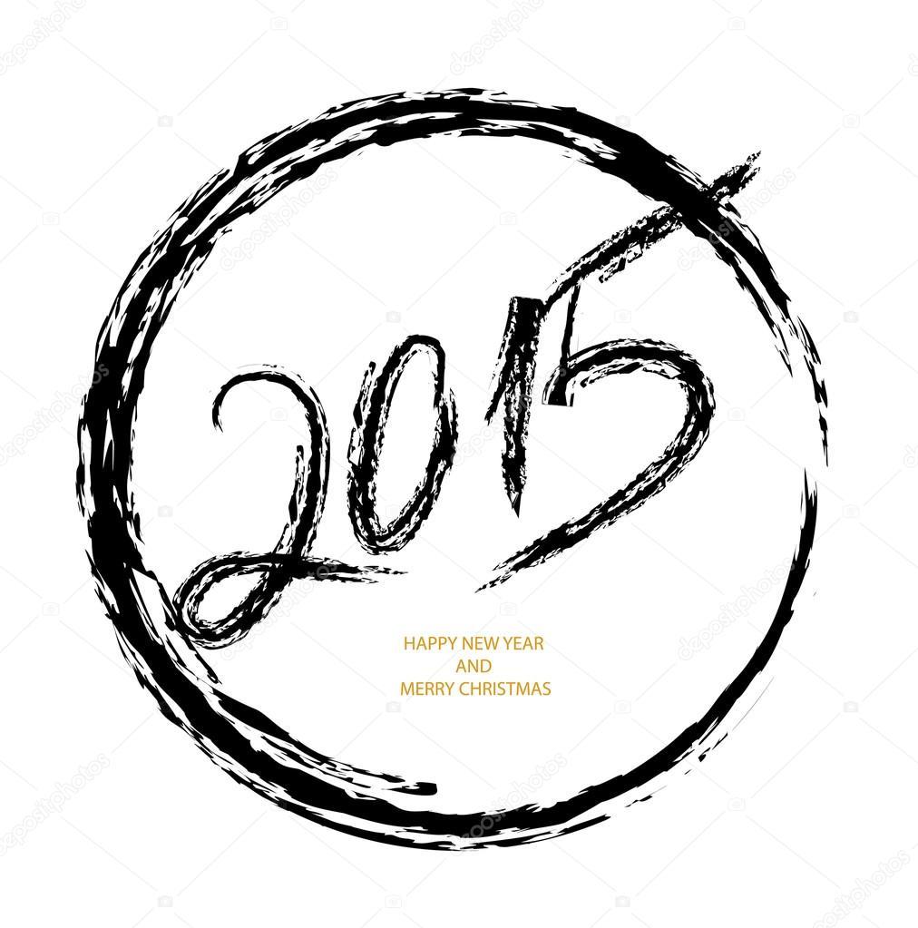 Frohes neues Jahr 2015 Nachricht malen Pinsel Kreis design ...