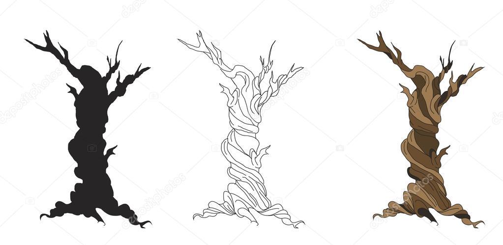 Dibujos Arboles Secos Conjunto De Dibujos Animados De árboles