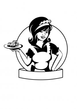 Waitress with a dish