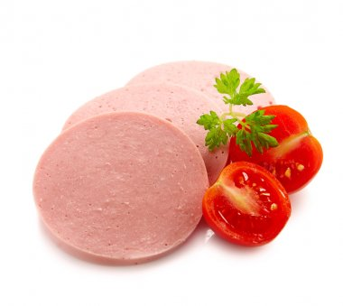 slices of boiled meat sausage