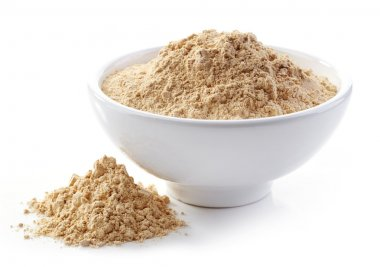 Bowl of maca powder isolated on white stock vector