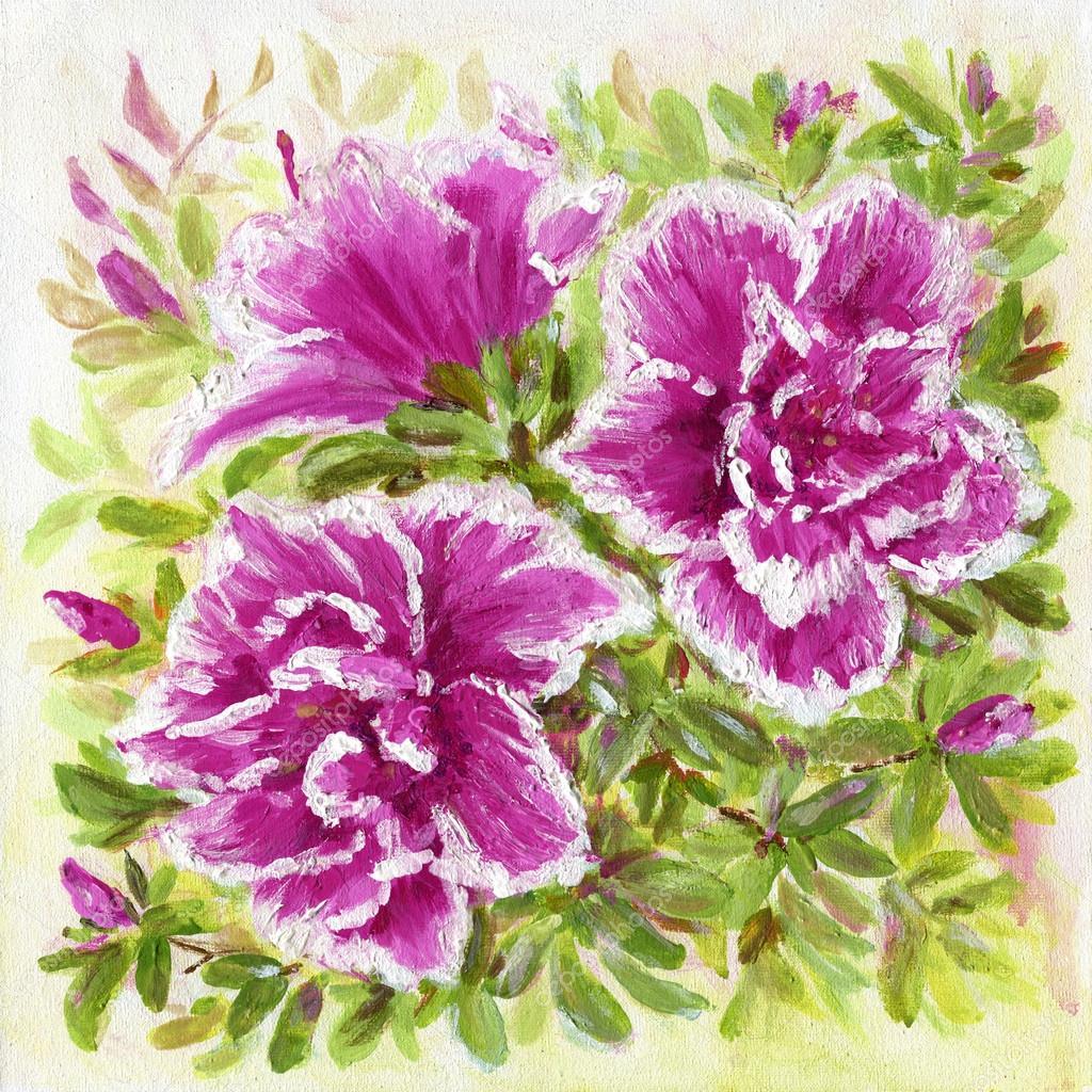 Malarstwo Akrylowe Kwiaty Azalia Zdjęcie Stockowe Elenita 107660176