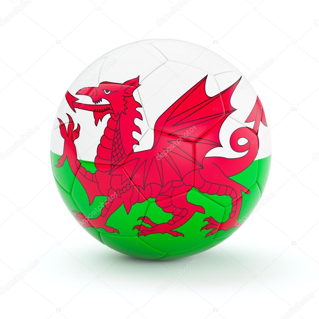 Balón de fútbol con la bandera de país de Gales — Foto de stock ...