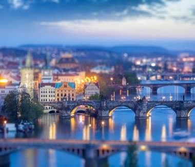 Travel Prague concept background - elevated view of bridges over Vltava river from Letna Park with tilt shift toy effect shallow depth of field. Prague, Czech Republic in twilight stock vector